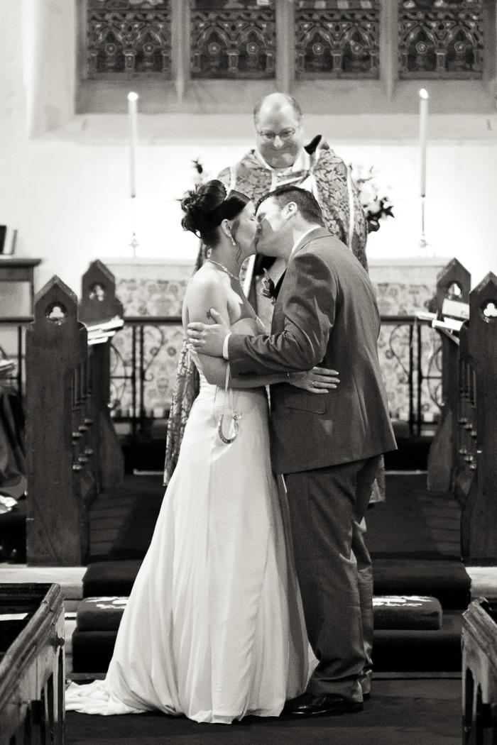 Church ceremony kiss