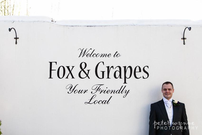 Groom at Fox and Grapes pub