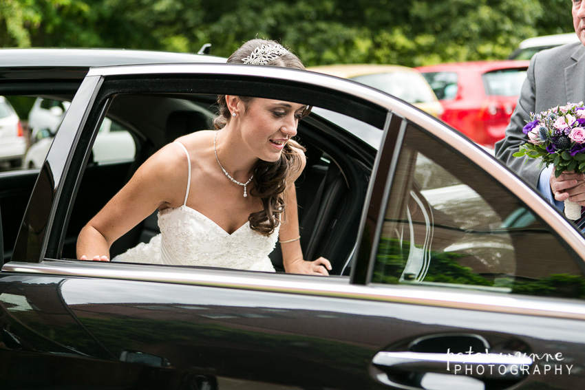 bride arriving at ruthin castle