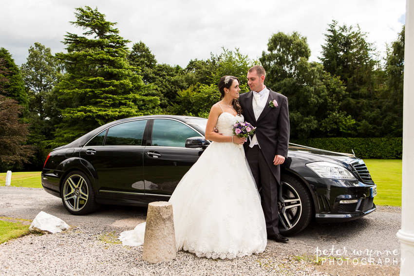 bridal portrait with car