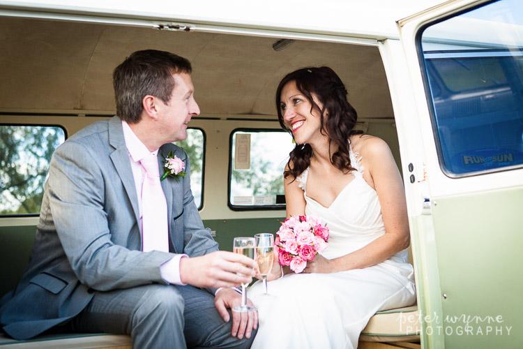 Bride & Groom in Camper Van