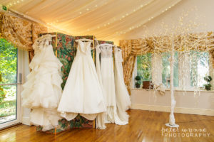 Wedding dressing hanging up in Wrenbury Hall