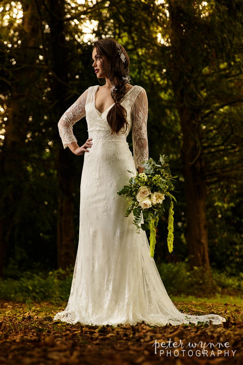 Bridal portrait in woodland area at Wrenbury Hall