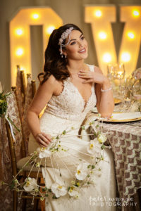 Wrenbury Hall bride posing at table