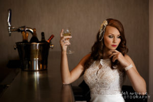 Bride posing at Wrenbury Hall bar