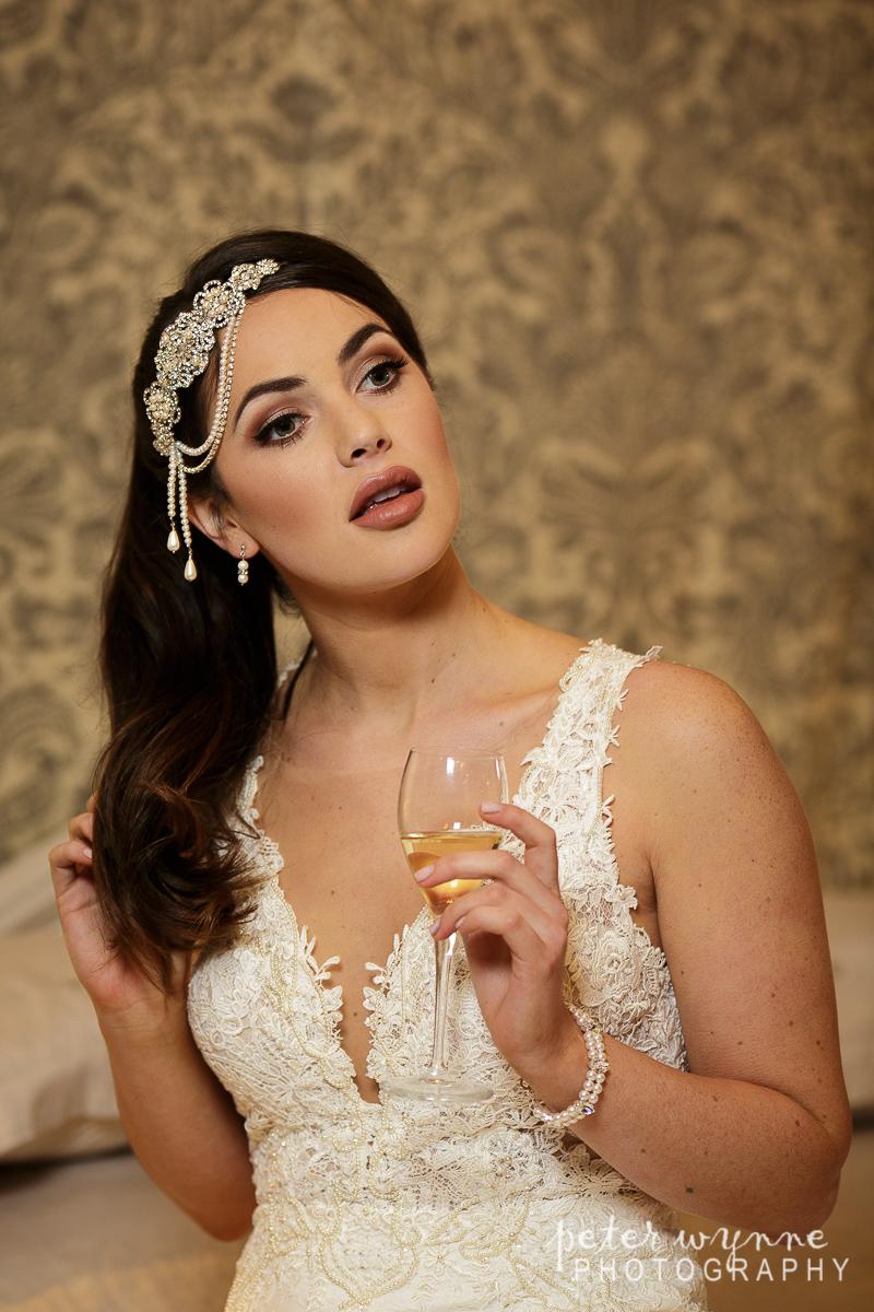 Closeup of bride posing in bridal suite